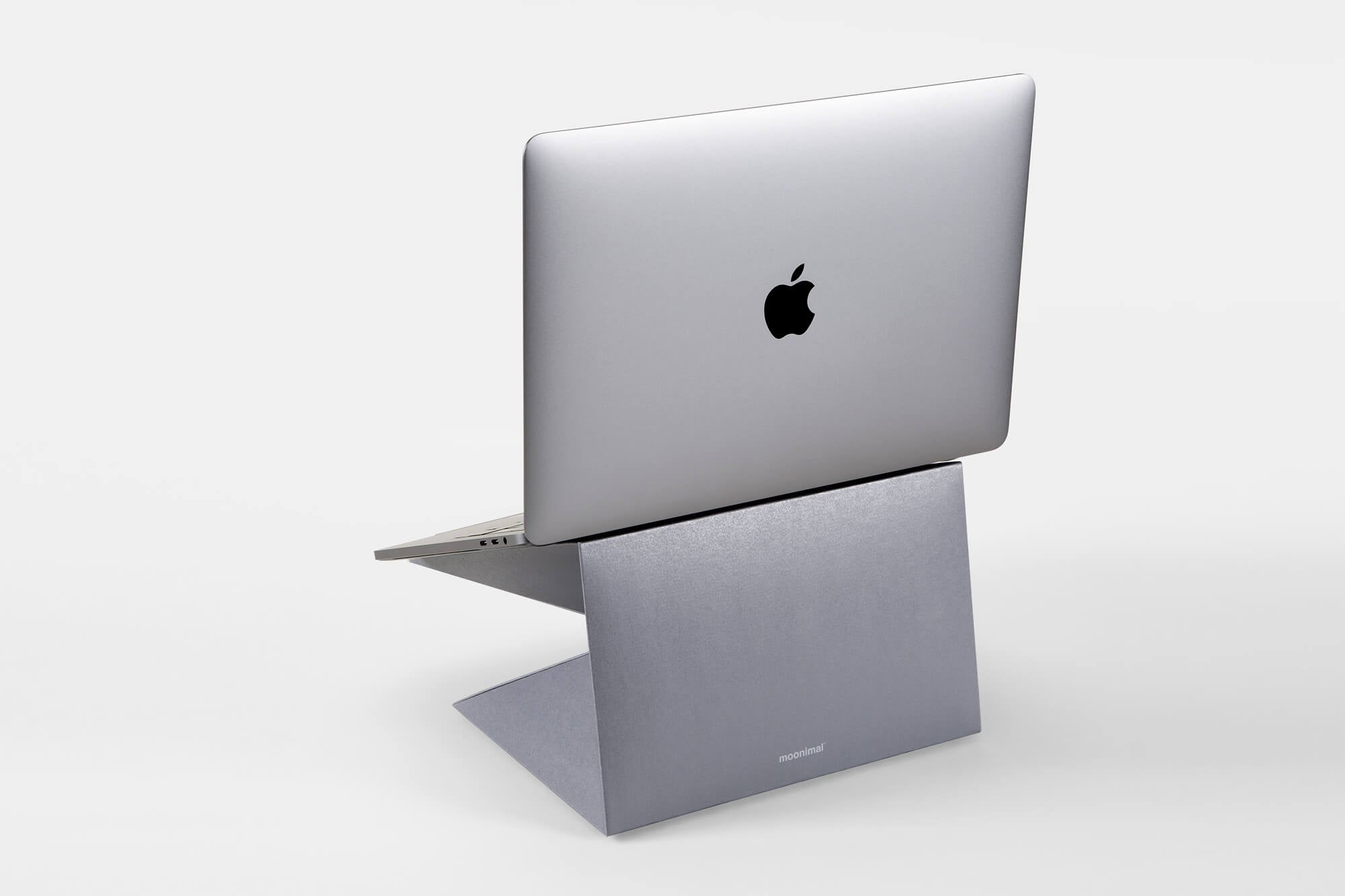Space gray laptop stand for Macbook