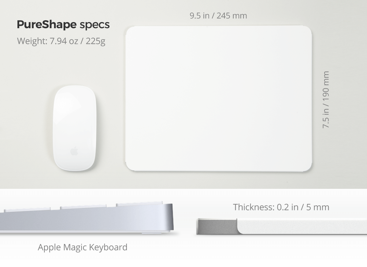 PureShape mousepad specs