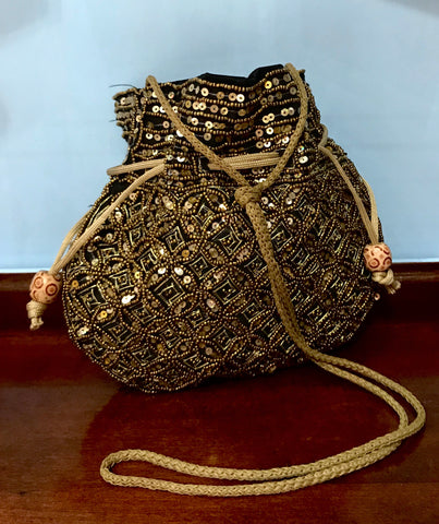 Gold Sequined and Beaded Handbag