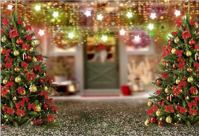 Small Lights Background Christmas Tree Backdrop
