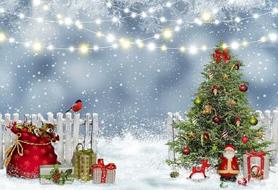 Snowing Christmas Tree Background Christmas Backdrop