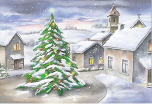 Winter Background Village Backdrop