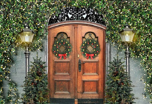 Wooden Door Background Christmas Backdrop