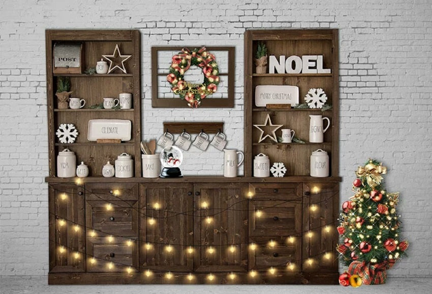 White Brick Wall Wooden Window Background Christmas Backdrop