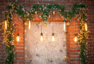 Red Brick Wall Background Christmas Door Backdrop