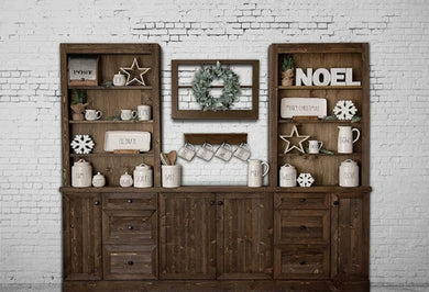 Wooden Window Background Christmas Backdrop