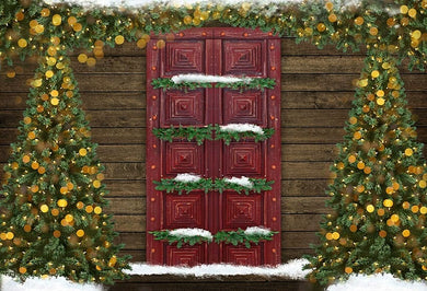 Crimson Door Background Christmas Tree Backdrop