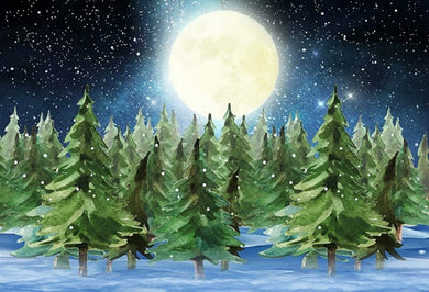 Winter Snowing Background Pine Backdrop