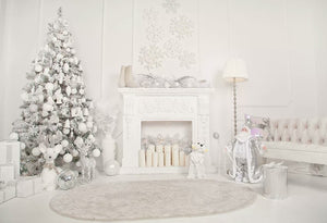 White Fire Stove Background Christmas Tree Backdrop