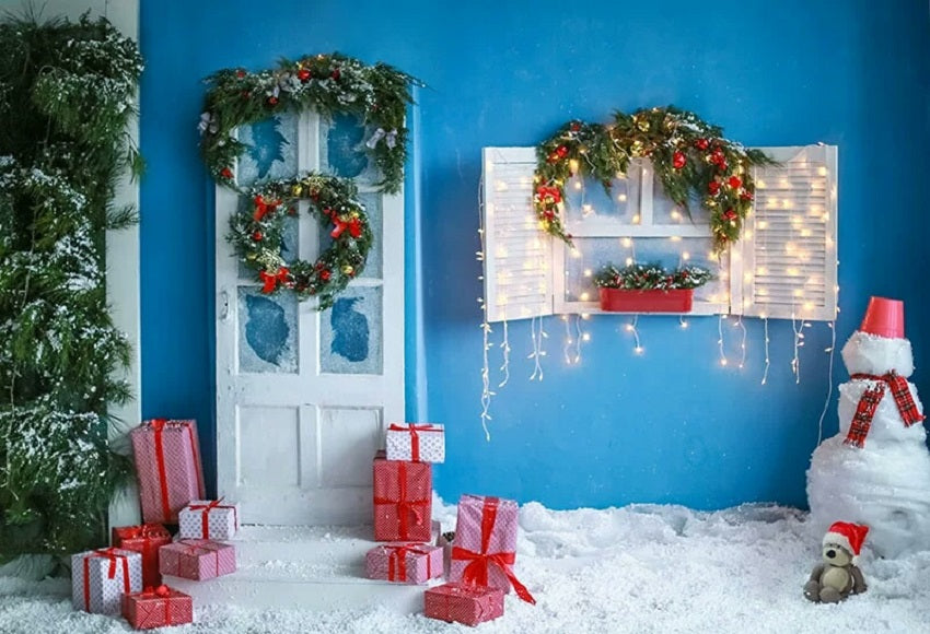 Gift Snowman Background Christmas Backdrop