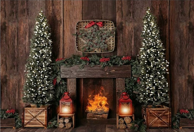 Stove Background Christmas Backdrop