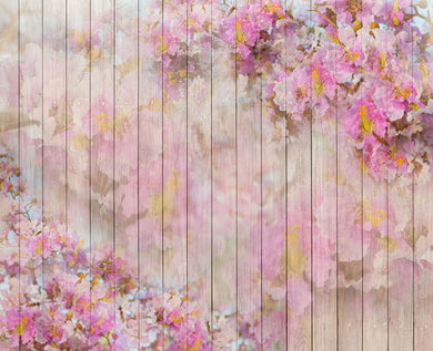Pink flower wood background