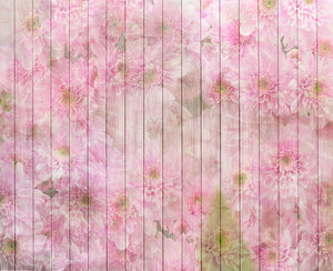 Pink white flower printed wood background