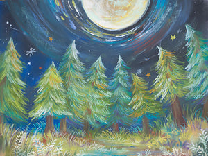 Moon Background Tree Backdrop Chalk Drawing