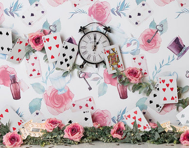 Cake Smash Backdrop Poker and Flower for Girl Background