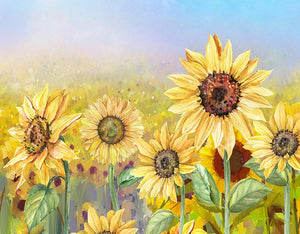 Oil Painting Sunflower Backdrop Floral Background