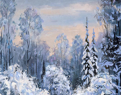 Winter Photo Background Oil Painting Forest Backdrop