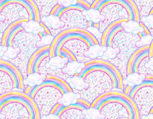Birthday Backdrops Rainbow and Clouds Background