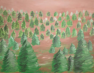Oil Painting Background Forest Pine Backdrop