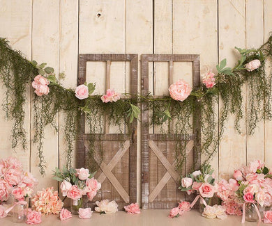 Flower and door creative background