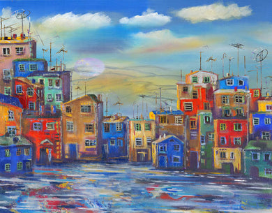 City Blue Sky Background Oil Painting Backdrop