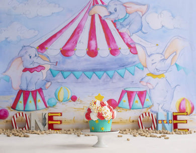 Baby Birthday Background Circus Backdrop