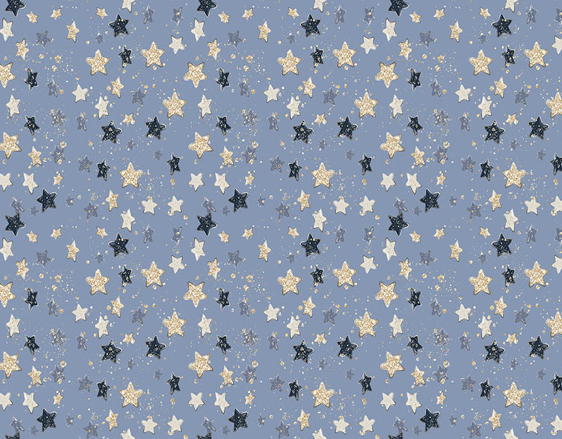 Blue Background Glitter Stars Backdrop