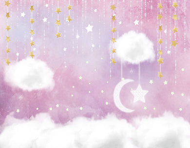Pink Background Stars Moon Backdrop