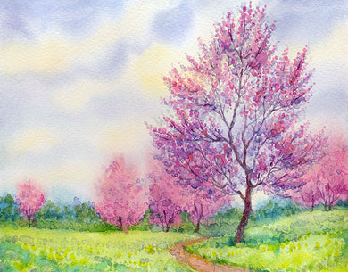 Peach Tree Background Oil Painting Backdrop