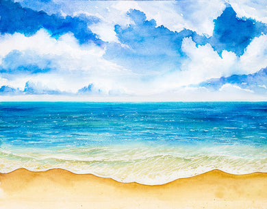 Seaside Background Blue Sky Beach Backdrop