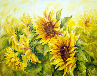 Sunflower Background Oil Painting Backdrop