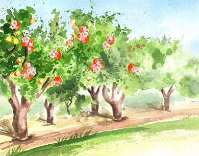 Apple Tree Background Oil Painting Backdrop