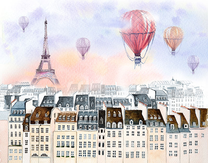 Tower Hot Air Balloon Background City Backdrop