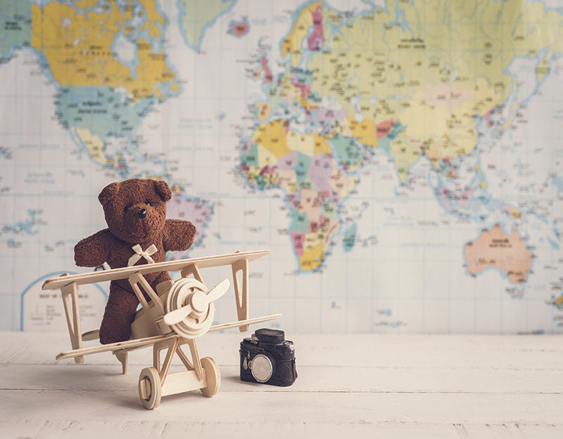 World Map Background Bear Backdrop