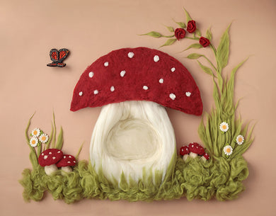 Pink Mushroom House Background Baby Birthday Backdrop