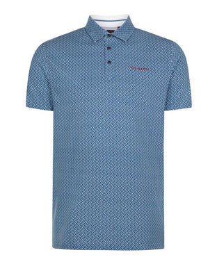 Ted Baker Wallnot Printed Polo - Mid-Blue