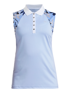 Rohnisch Leaf Sleeveless Polo - Light Blue Leaves