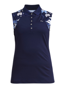 Rohnisch Leaf Sleeveless Polo - Navy Leaves