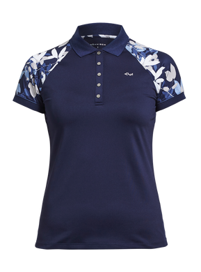Rohnisch Block Leaf Poloshirt - Navy Leaves