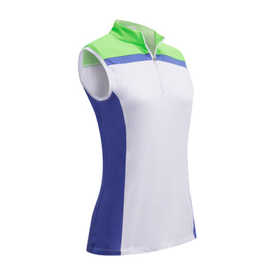 Callaway Ladies SL 1/4 Zip Colour Block Top - Amparo Blue
