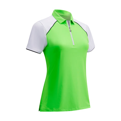 Callaway Ladies 1/4 Zip Colour Block Top - Jasmine Green