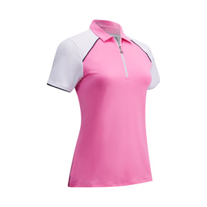 Callaway Ladies 1/4 Zip Colour Block Top - Fuchsia Pink