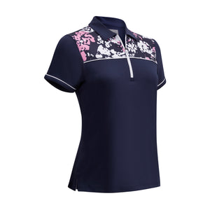 Callaway Ladies SS Floral Camo Polo - Peacoat