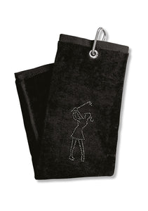 Surprizeshop Crystal Lady Golfer Towel - Black