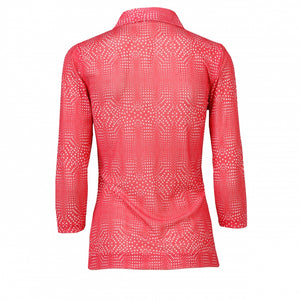 Daily Sports Aggie Mesh 3/4 Sleeve Polo - Watermelon