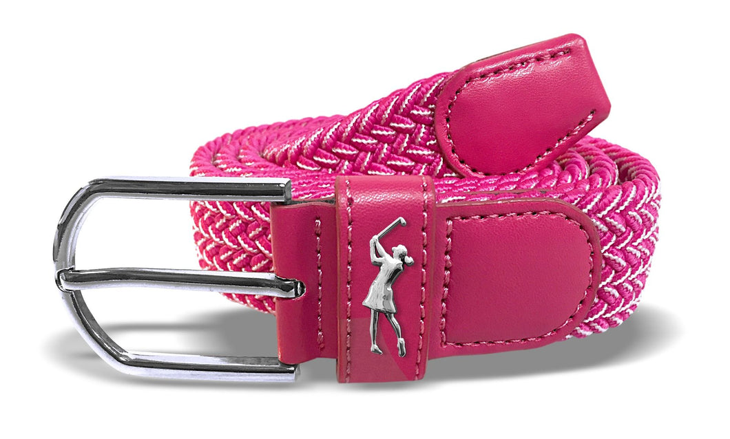 Surprizeshop Stretch Webbing Belt - Pink/White