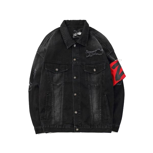 WARNING DISTRESSED BLACK DENIM JACKET