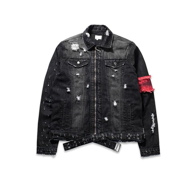 DISTRESSED ARM BAND BLACK DENIM JACKET