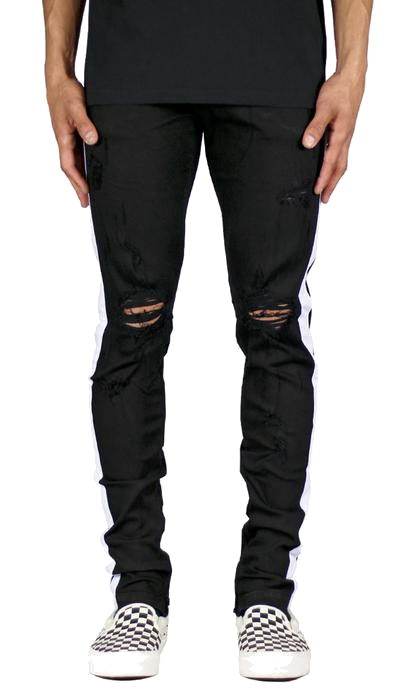 DISTRESSED STRIPE BLACK DENIM JEANS