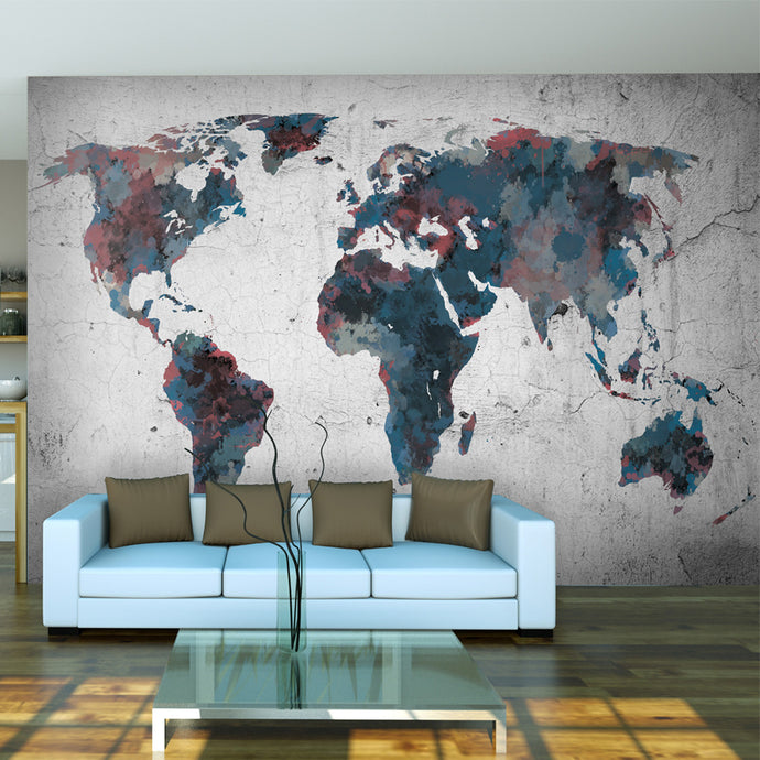 Fototapete - World map on the wall - WELTKARTEN24